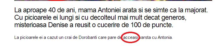 """""""acceasi"""" într-un text de pe www.cancan.ro"""