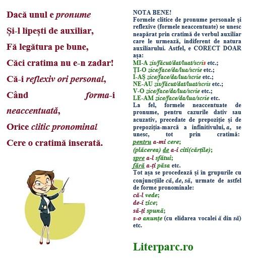 cratima pentru atașarea pronumelor personale în forme neaccentuate de verbe dar și a cliticelor de pronume personale