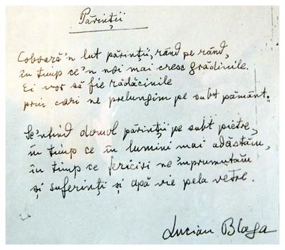 Manuscrisul poeziei Părinții, de Lucian Blaga