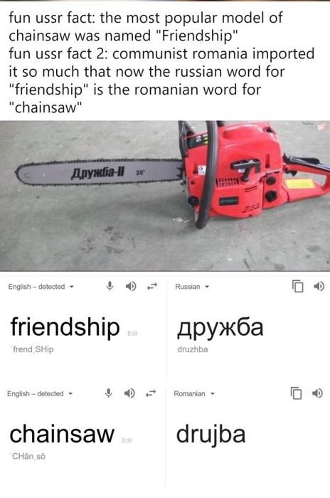 drujba - cuvânt eponim din rusă care înseamnă prietenie